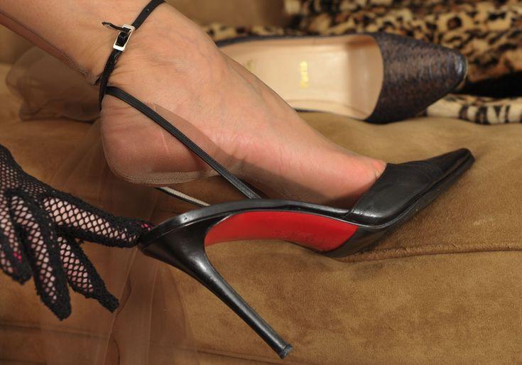 Louboutin high heels #highheelbootsskirt #blackhighheelshot