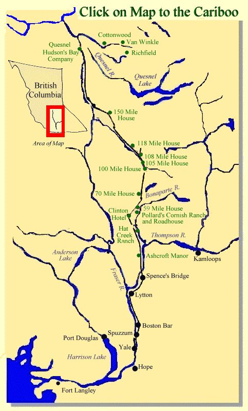 Map of the locations of the Cariboo Gold Rush
