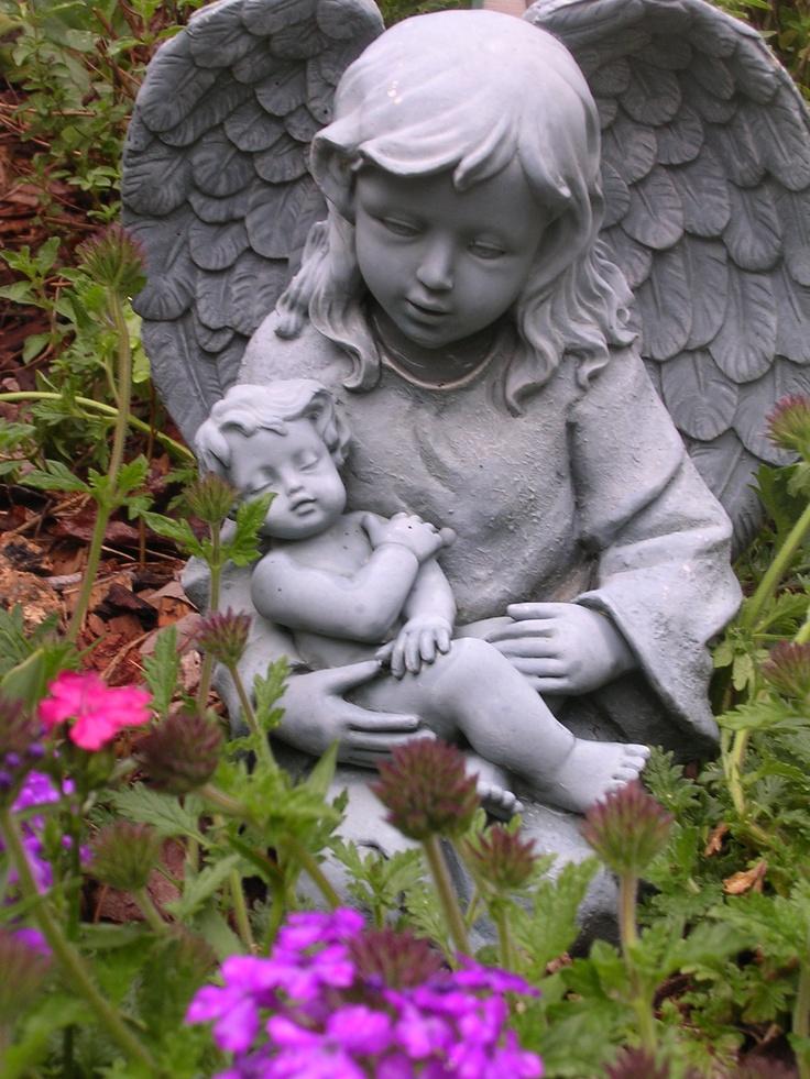 Sweet Angel Holding Baby Jesus In My Prayer Garden.