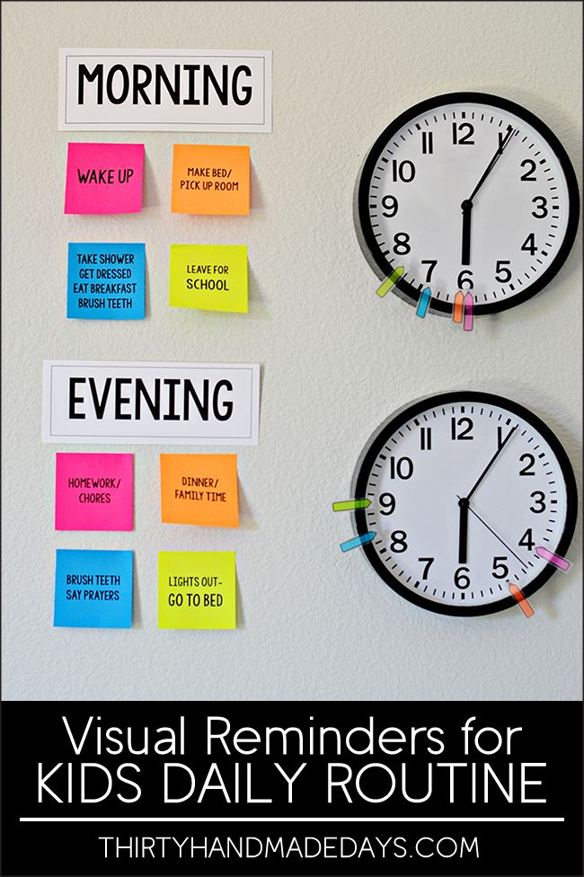 Make your own visual reminders for Kids Daily Routines - perfect for back to school! I could totally do this in my classroom too! www.thirtyhandmadedays.com