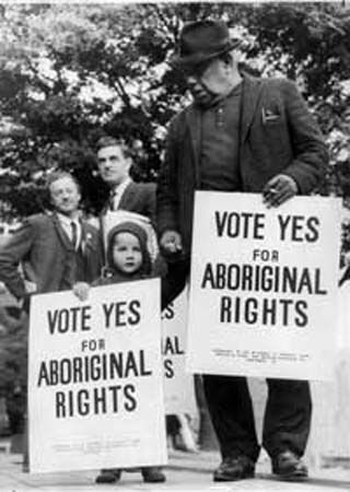 Source: Picture Origin: 1920 In 1920 the government allowed deserving First Nation people to be enfranchised- this meant that they could vote and have the rights of a British citizen IF ONLY they gave up their status and treaty rights. First Nations struggled because the land they were given was poor and infertile. First Nations also faced discrimination. [ACHHK114]