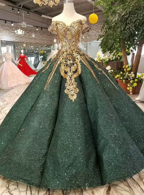 Green Ball Gown Sequins Gold Appliques Off The Shoulder Wedding Dress