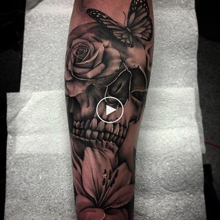 Skull, Butterfly and Flower Tattoo by Bobby Loveridge @bobbalicious_tattoo #black #blackgray …