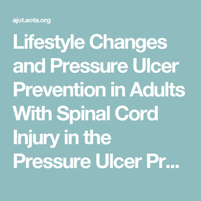 1. This article describes a pressure ulcer prevention program for those who sustained a SCI. The goal was to examine the correlation between positive lifestyle changes and the progression of pressure ulcers in individuals with a SCI. Results indicate that participants who showed positive lifestyle and behavior changes were motivated, had the ability to identify goals, and had support in their lives. Because of these findings, pressure ulcers improved or healed without surgical intervention.