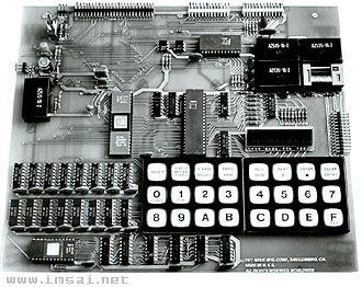 IMSAI  8048      A soon as the Intel single chip microcomputer was available, IMSAI developped this single board computer. The 8048 processor offered integrated RAM, ROM, I/O, Timer/counter and interrupts. IMSAI added a 24 keys hexadecimal keyboard, a 9-digit LED hex display, 26 I/O lines connectors, 5 relays, Teletype and audio cassette interfaces. 2 Kb of ROM and 1 Kb. of RAM was intalled. Sockets was available for one additional Kb.