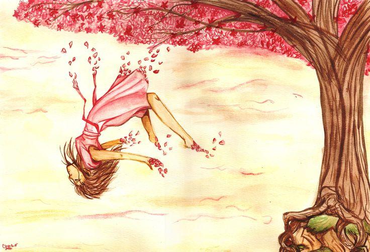 """""""Las flores de cerezo se han caído.   Cada uno de los pétalos es un trozo de mi amor.   Incluso ahora, sigo soñando con poder verte esta primavera.   Las flores de cerezo se están dispersando. """""""