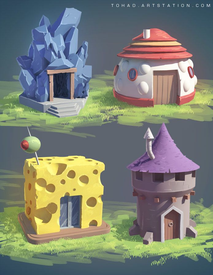 Littles houses, Sylvain Sarrailh on ArtStation at https://www.artstation.com/artwork/littles-houses