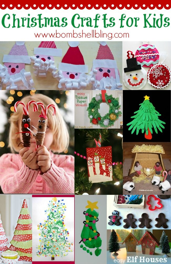12 Kid Crafts for Christmas     http://www.bombshellbling.com/wp-content/uploads/2012/12/Christmas-Crafts-for-Kids.jpg