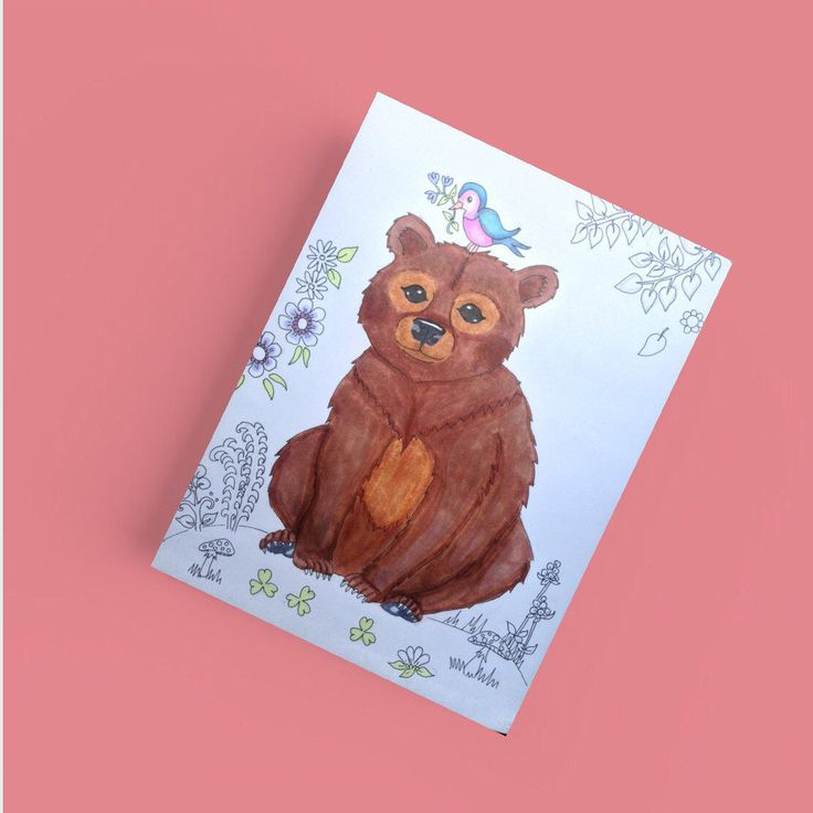Bear postcard, cute woodland card  Also available in a cute set with other woodland animals like fox, deer and raccoon Visit LumisaDesign for more cute prints and cards.