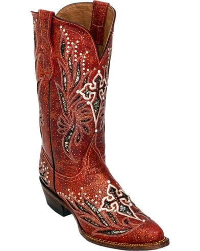 Ferrini Red Vixen Cowgirl Boots - Pointed Toe, Red
