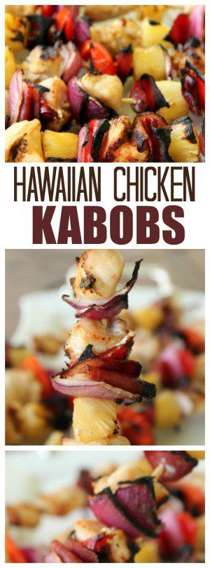 Hawaiian Chicken Kabobs recipe. Perfect for a dinner on the grill. Just skewers, sauce and some delicious veggies and meat.