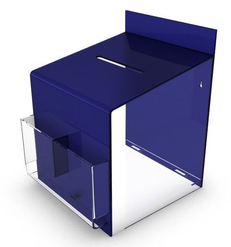 Blue Comment / Suggestion Box With Clear Pockets, Count or Wallmountable