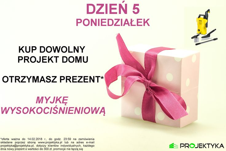 🎊PONIEDZIAŁEK↔️MYJKA WYSOKOCIŚNIENIOWA*🎊 ➡️ http://bit.ly/katalog-projektów ⬅️  💚PROMOCJA TRWA DO 14 LUTEGO 2018💚  *oferta ważna do 14.02.2018 r., do godz. 23:59 na zamówienia składane poprzez stronę www.projektyka.pl lub na adres e-mail projektyka@projektyka.pl, dotyczy klientów indywidualnych, każdego dnia nowy prezent o wartości do 300 zł, promocje nie łączą się