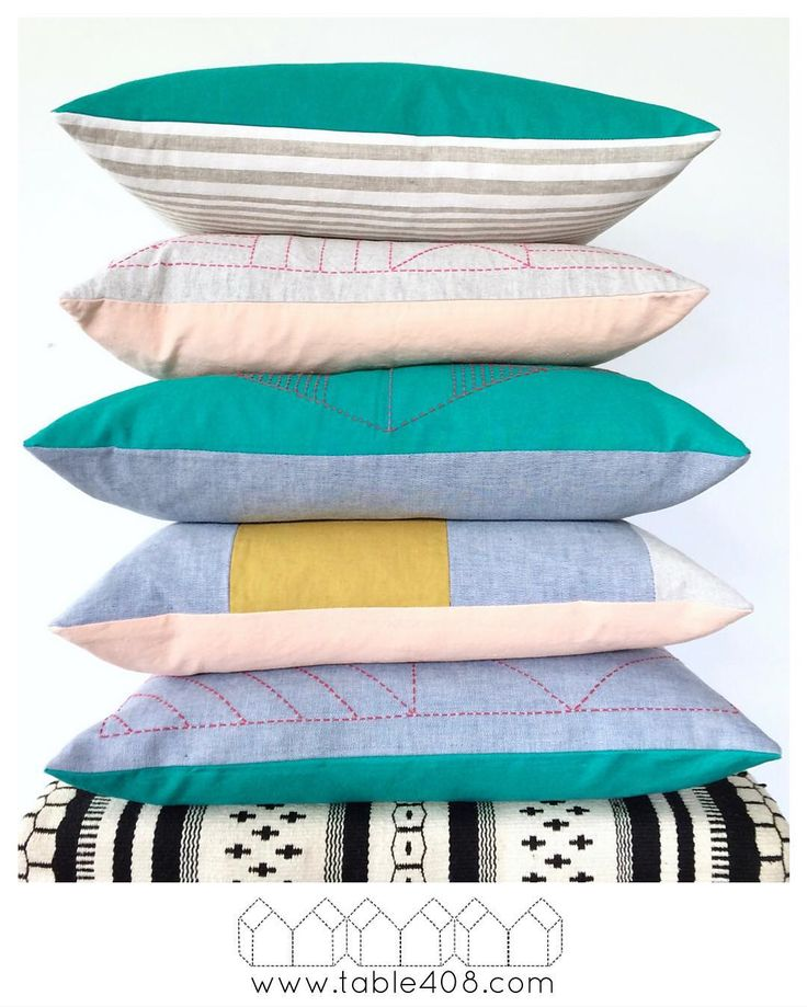 Table 408 Launch! All stacked up. Linen/Cotton Handmade Pillows with Hand-Stiched Sashiko Thread Details.