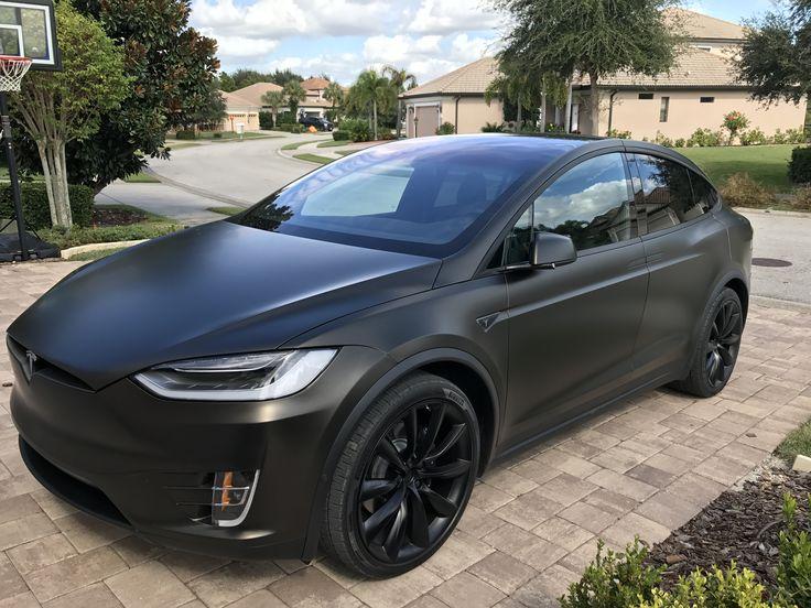 Tesla Model X Black Satin Gold Dust Vinyl Wrap With Carbon