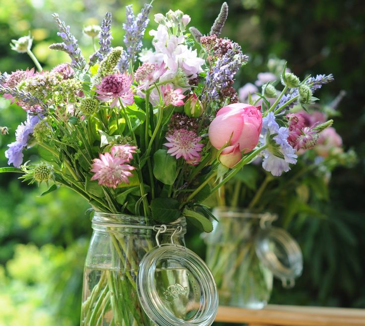 True English country garden wedding flowers in a jar