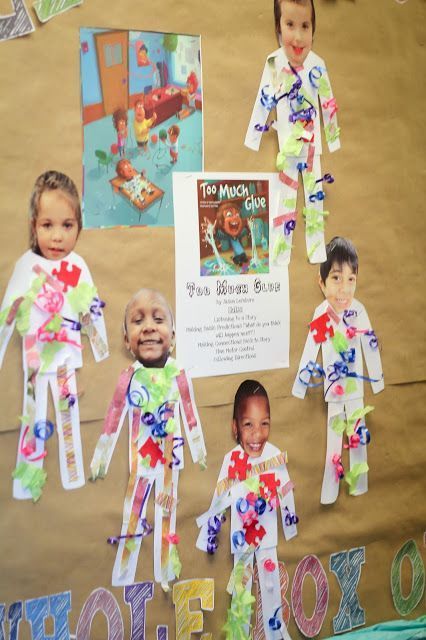"PreK Project- After reading ""Too Much Glue"" students make themselves their very own glue suits just like in the room. Activity helps with story listening skills, following directions, and fine motor control."