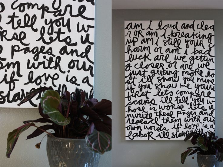 Make your own song lyric art on a large canvas. Teek: the song lyrics art is cool, but there are TONS of cool things on this site.