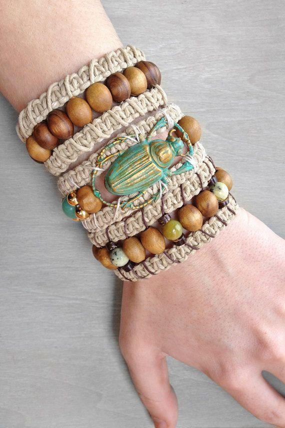 Hemp Cuff Bracelet Beaded Woven Macrame Bracelet by OneUrbanTribe