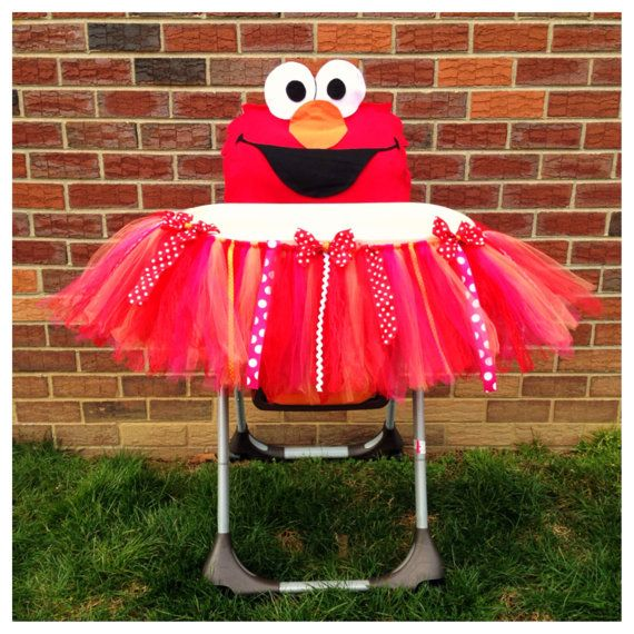Elmo High Chair Tutu & Cover First Birthday by FreckledStrawberrie