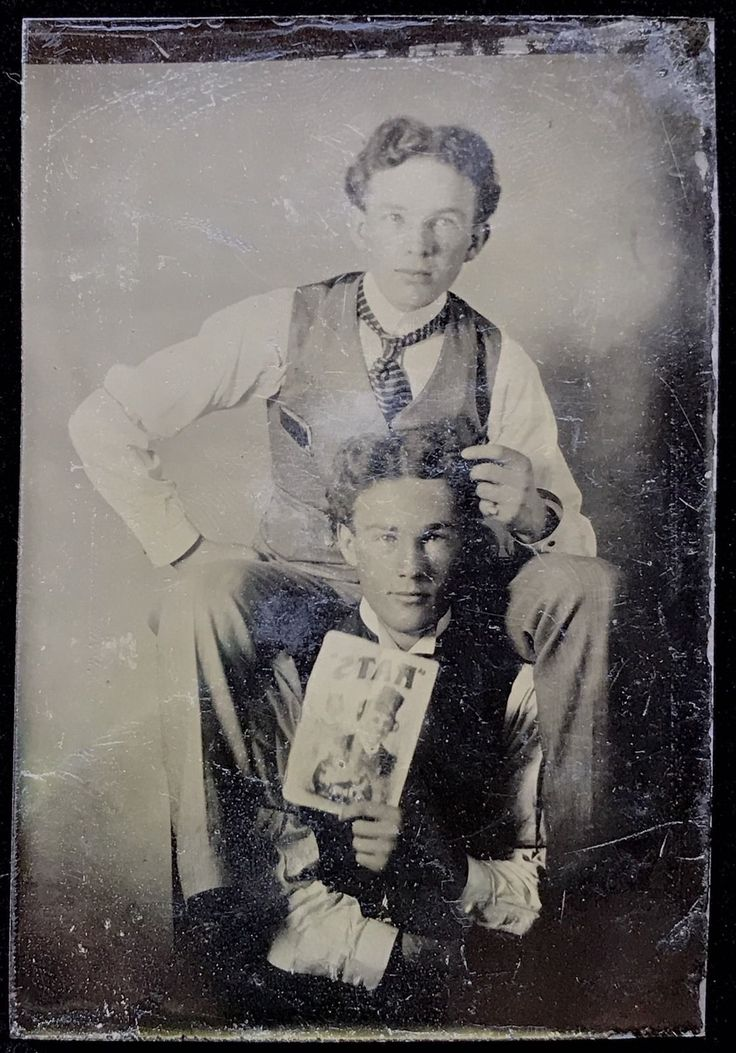 """Details about 1/6 PLATE TINTYPE - TWINS STARING IN """"RATS"""" THE MUSICAL? -ONE HOLDS THE PLAYBILL"""