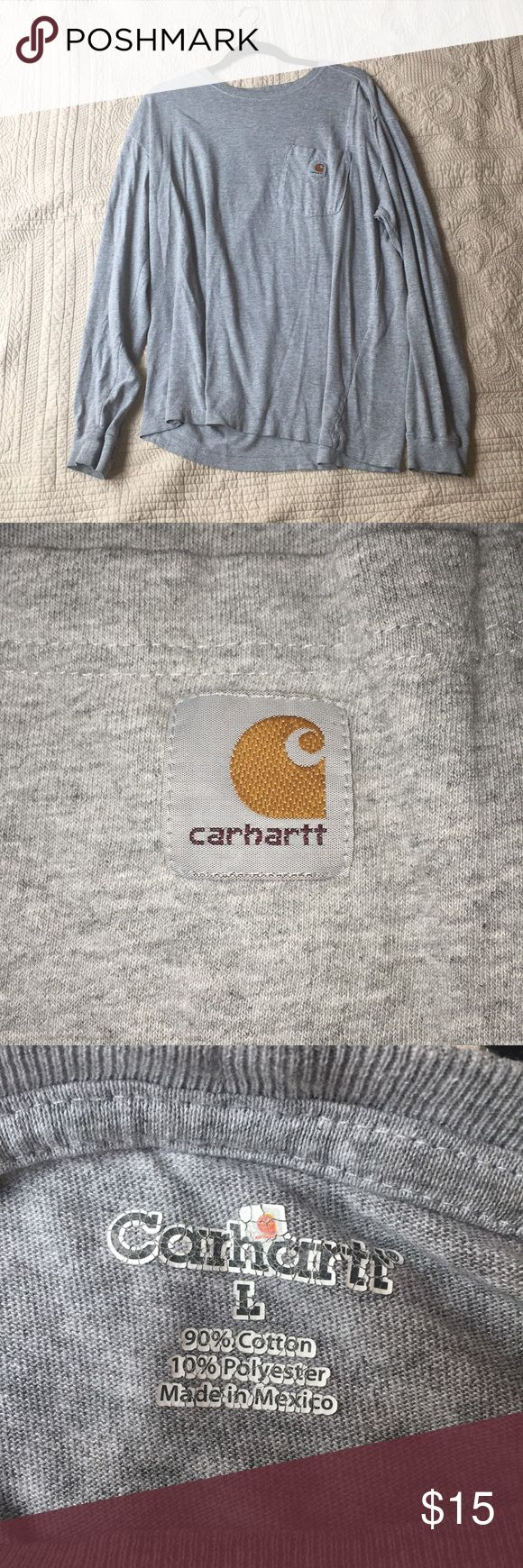 Men's Carhartt sweatshirt Men's Carhartt lose fitting sweatshirt Has only been worn a couple times, still in great condition Smoke free home but has been washed Men's large Color is gray Carhartt Sweaters Crewneck