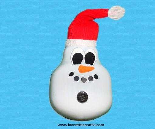 La lampadina è rotta? Facci un pupazzo di neve da appendere all'albero di Natale