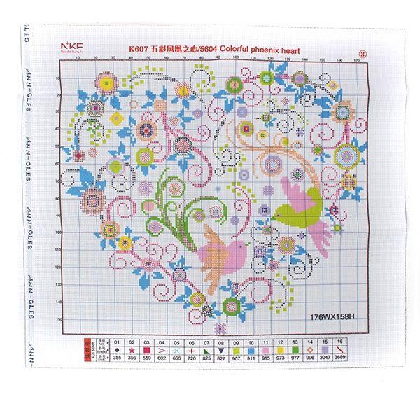 51x46cm colorido corazón fénix decoración bordado de punto de cruz kit de casa habitación en Banggood