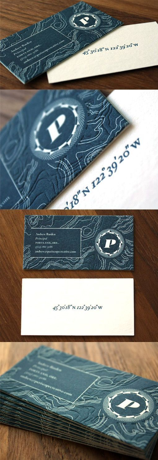Elegant Textured Blue And White Letterpress Business Card For A Creative Agency