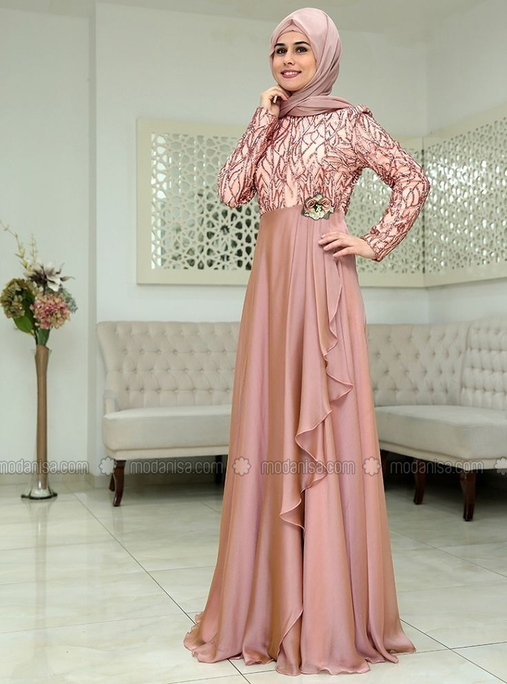 Humasah Evening Dress - Salmon - SomFashion