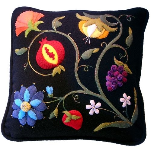 Felt and wool embroidery.