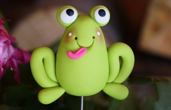 Polymer Clay Pot Garden Stake FROG by ClayCutiesbySabrina on Etsy, $7.50