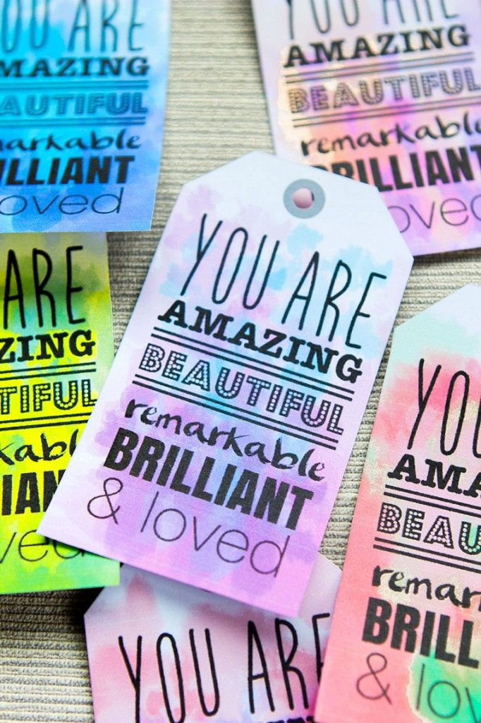 You are Amazing Beautiful Remarkable Brilliant and Loved Gift Tag Printables (Watercolor Business Card Free Printable)
