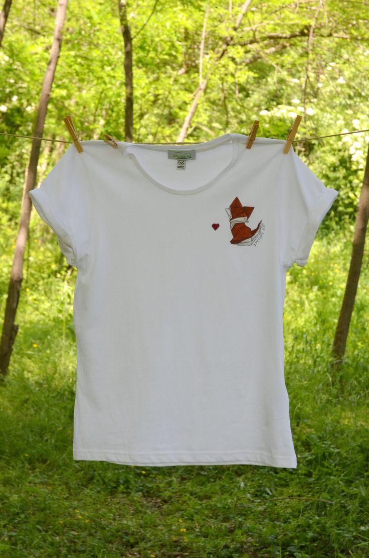 T-shirt bianca origami volpe fox dipinta a mano handmade handpainted di LilyWallaceSHOP su Etsy