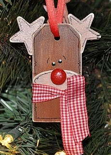 Rudolph Gift Tag @Megpie Designs: I love these wooden gift tags! I bought them in bulk... Here's another project idea for these: Rudolph...So cute tied to a gift or hanging from a jar of peppermint candies! Here's what you'll need to make the Rudolph Gift Tag...: