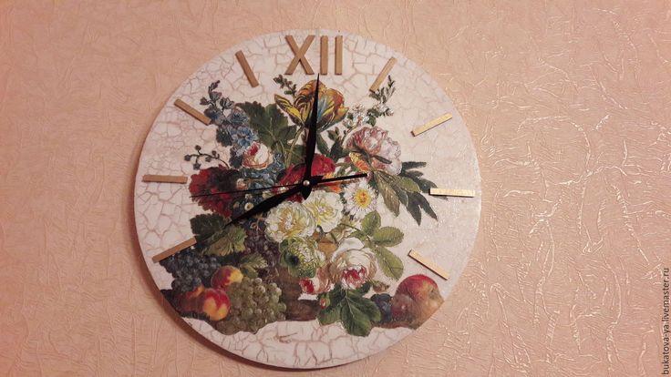 Купить Часы настенные Цветы - ручная работа, Декупаж, интерьерные часы, часы настенные