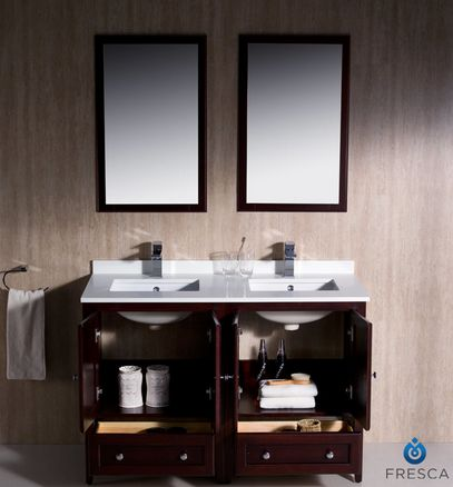 """http://www.houzz.com  Oxford 48"""" Mahogany Traditional Double Sink Vanity Savio Brushed Nickel Faucet  http://www.houzz.com/photos/20891316/Oxford-48-Mahogany-Traditional-Double-Sink-Vanity-Savio-Brushed-Nickel-Faucet-transitional-bathroom-vanities-and-sink-consoles"""