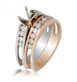 1.58 CTTW Diamond Semi-Mount Ring Set with Matching Band in 18K Two-Tone Gold