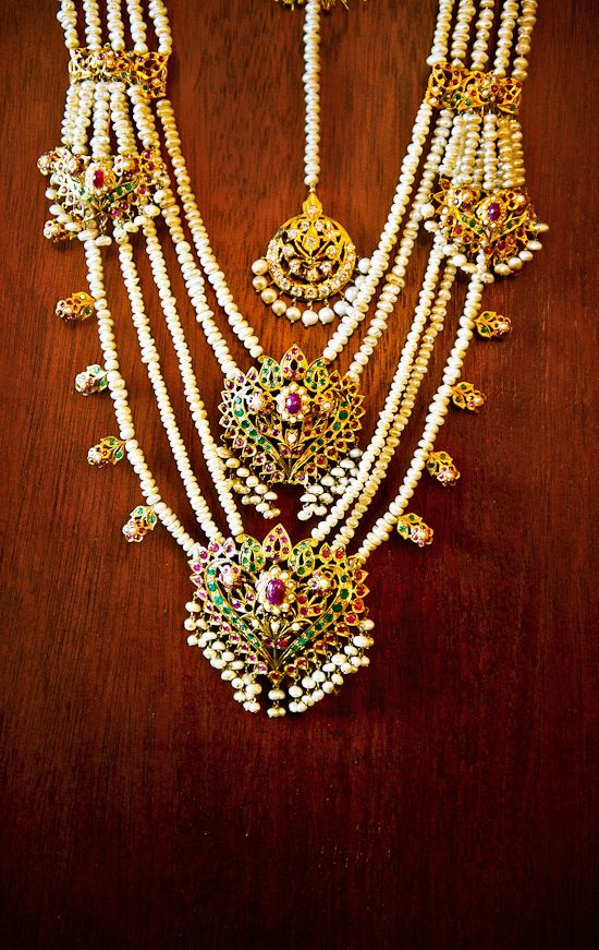 Bridal pearl and gold statement bridal necklace. Indian bridal fashion