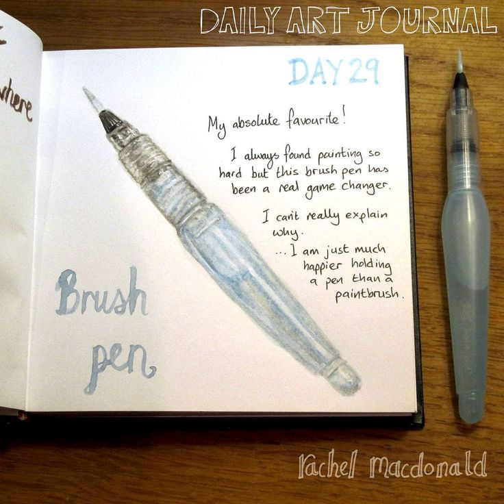 Daily Art Journal - Day 29 - Pentel Aquash brush. This pen is fantastic. I am happy drawing with pencils and pens but painting was always a major hurdle for me. This pen has helped to change that. It just feels better to use than a traditional paintbrush - like I am using a pen. It puts me back in my comfort zone.