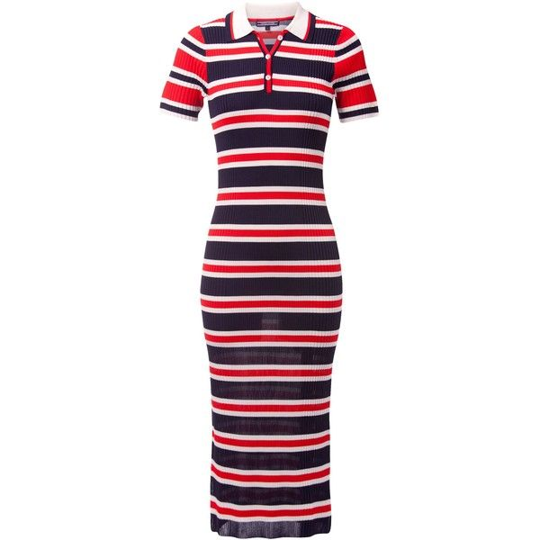 Tommy Hilfiger Erin Stripe Polo Dress ($170) ❤ liked on Polyvore featuring dresses, women dresses, polo dresses, ribbed bodycon dress, striped dresses, rayon dress and body con dresses