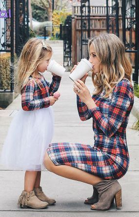 How cute is the mother/daughter matching outfit?! Get it now! | kids fashion | kids clothes | girl clothes | girl dresses | mother and daughter outfits | plaid | toddler clothes | #affiliate