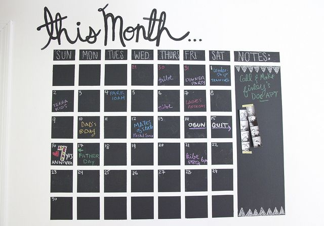 DIY Chalkboard Wall Calendar | Flickr - Photo Sharing! Also seen here http://jenloveskev.com/2013/06/05/diy-chalkboard-wall-calendar/