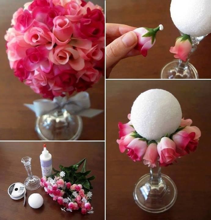 Candlestick / Styrofoam Ball / Silk Flowers / Ribbon / Centerpiece / Spring / Easter / Wedding / Mother's Day / Baby Shower / Graduation