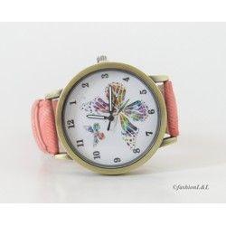 Trendy hodinky s farebným motýlikom doplnené remienkom z eko kože :)