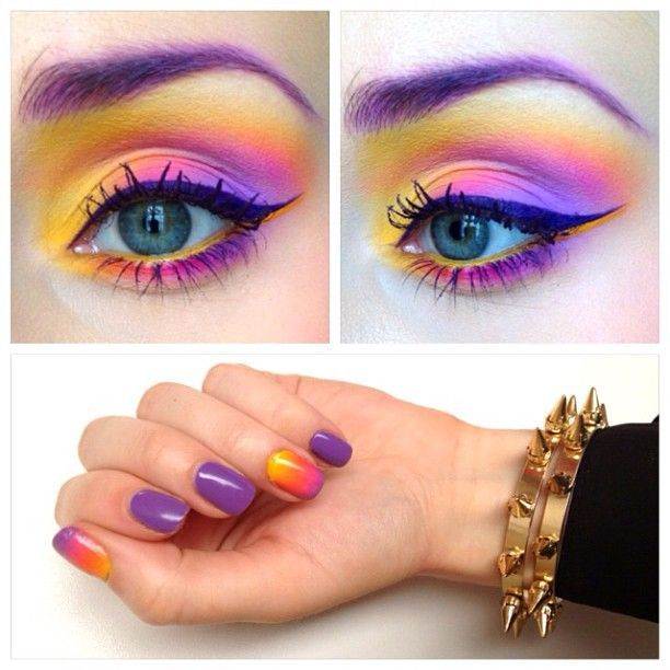 bright purple, pink and yellow