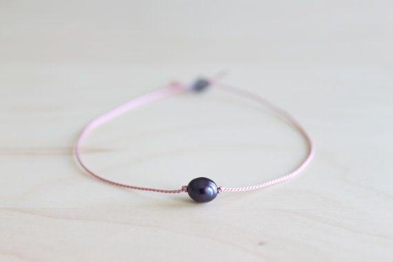 Dainty black pearl bracelet/ friendship by HandsLoveJewelry