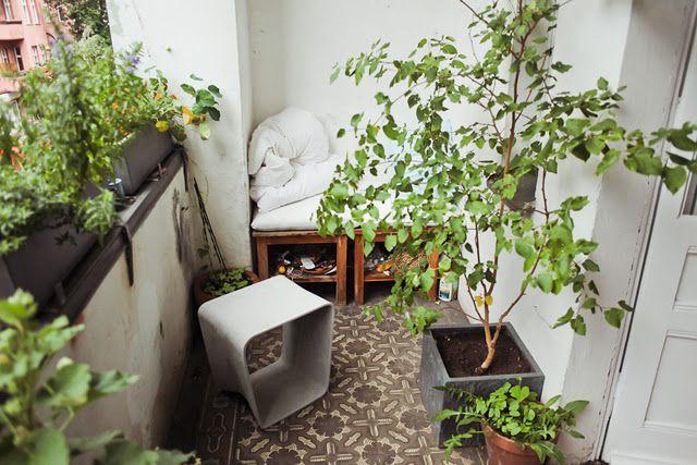 green balcony: Green Home, Balconies Ideas, Balconies Gardens, Reading Corner, Reading Nooks, Cement Tile, Reading Spots, Indoor Plants,  Flowerpot