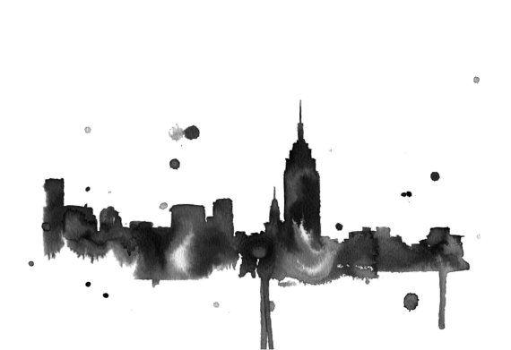 Acquerello illustrazione di viaggio - New York a stampa di notte