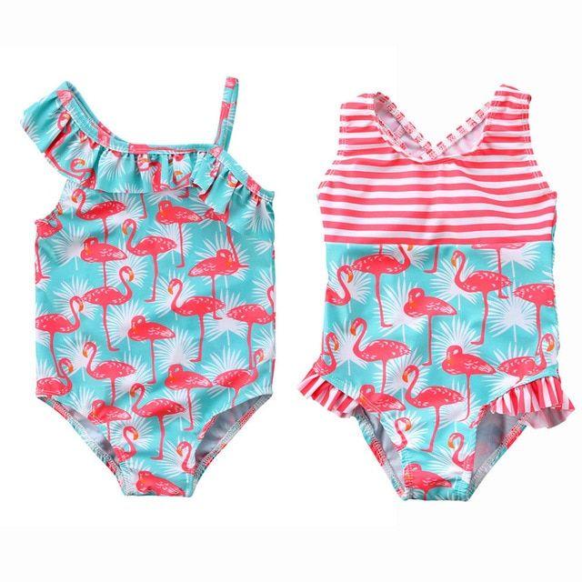 Tomblin Girls One Shoulder One Piece Swimsuit Ruffle Swimwear Bathing Suit